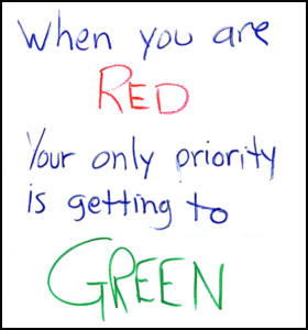 When you are RED your priority is getting to GREEN