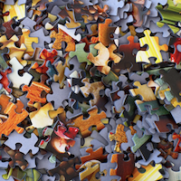 Mixed puzzle pieces
